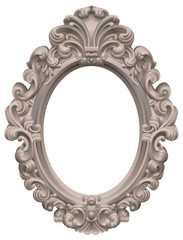 Cadre baroque ovale taupe