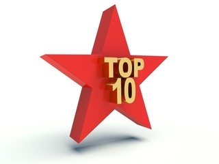 Words Top 10 on star. 3d render illustration.
