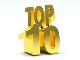 Golden Words Top 10. 3d render