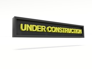 Under construction. Text words 3d render.
