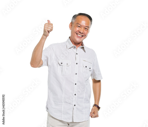 Cheerful Asian Man Giving a Thumbs Up
