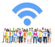 canvas print picture - Multi-Ethnic Group Of People Holding The Word Internet