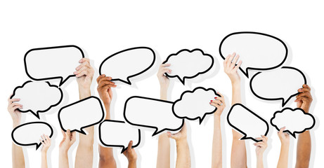 Diverse Hands HoldingSpeech Bubbles
