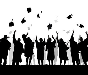 Silhouette of Graduating Students Throwing Caps In The Air