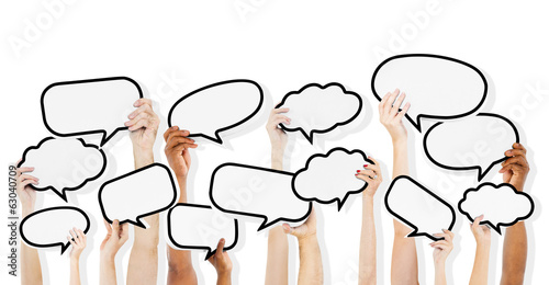 Diverse Hands HoldingSpeech Bubbles - 63040709