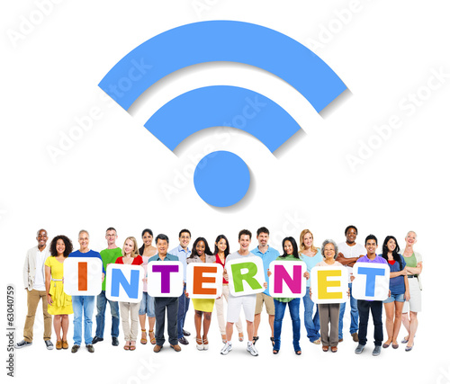 canvas print picture Multi-Ethnic Group Of People Holding The Word Internet