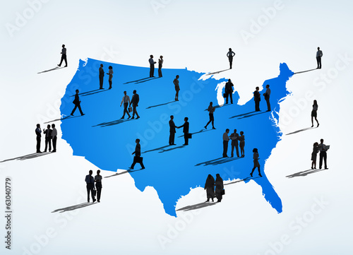 Silhouettes Of Business People In North America