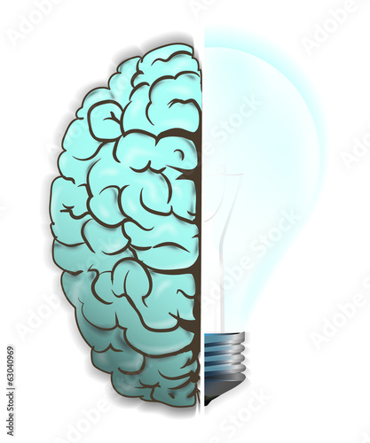Brain and light bulb. Concept of idea.