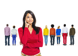 Asian Woman Thinking With Group of People