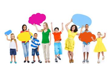 Multi-Ethnic Colorful People Speech Bubbles