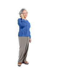 Cheerful Mature Woman Using Mobile Phone