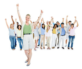 Smiling Mature Woman Celebrating With Group of People