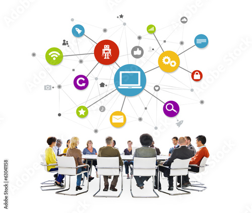 Multi-Ethnic People Meeting With Computer System
