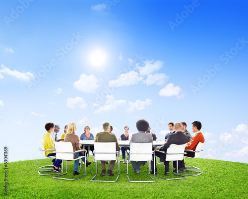 Group of Multiethnic People in Outdoor Meeting