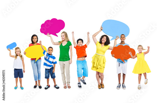 Multi-Ethnic Colorful People Speech Bubbles