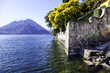 Lecco Lake coastline panorama color image
