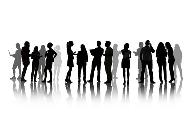 Silhouettes Of People Social Networking