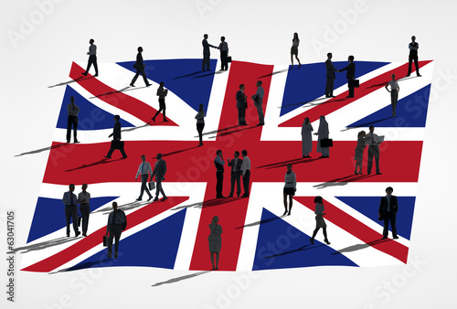 Silhouette of Business People and Flag Of United Kingdom