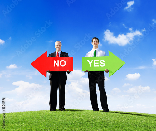 Businessmen Giving Options of Yes or No