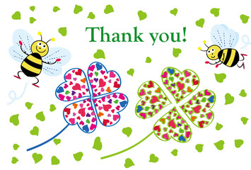 四葉のクローバーと蜜蜂のサンキュウ感謝のメッセージカード