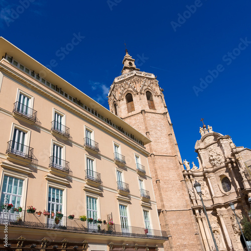 Valencia Cathedral facade and Miguelete Micalet in Plaza de la R