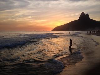 Sunset in Rio de Janeiro, beach Leblon