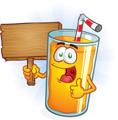 Orange Juice Cartoon Character Holding Sign