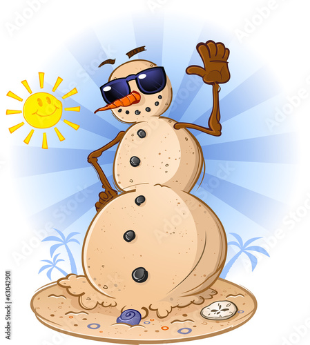Beach Sand Snowman Cartoon Character