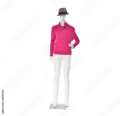 full-length female red clothing in hat on mannequin