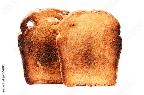 Toast fried closeup isolated on white