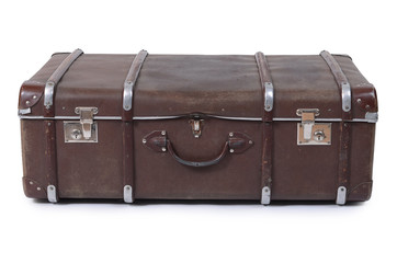 Old suitcase isolated on white background