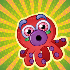 Techno Colored Octopus Cartoon Character