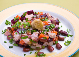 Salad with boiled beet