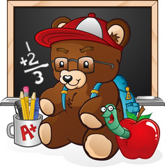 School Student Teddy Bear Cartoon Character