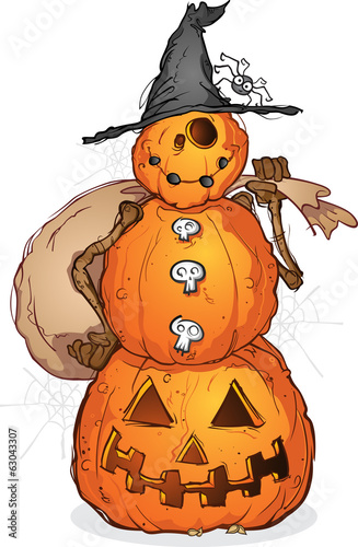 Halloween Pumpkin Scarecrow Cartoon Character
