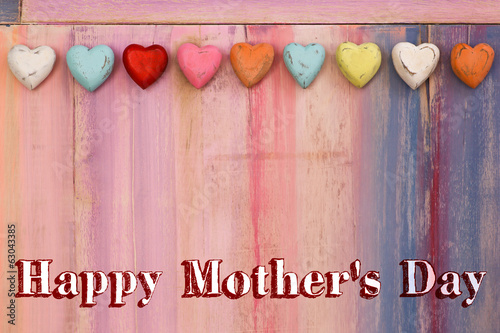 Happy Mothers Day Message Painted Board with Hearts