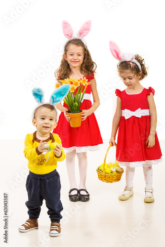 Happy kids with bunny ears