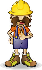Construction Worker Thumbs Up Cartoon Character