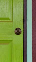 Door knob on color door
