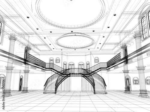 sketch design of interior hall