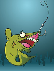 Fish on a Hook Cartoon Character