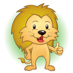 Lion Cartoon Character Thumbs Up