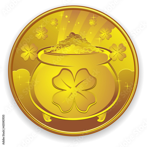 Lucky Gold Coin Charm Cartoon Illustration
