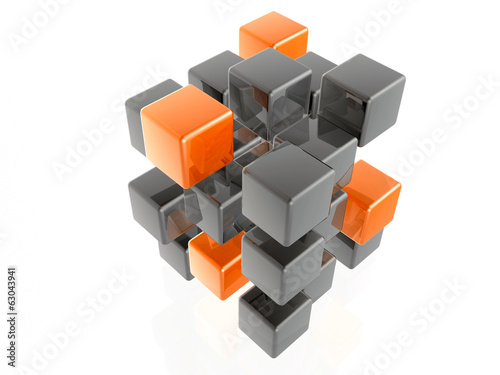 Orange and grey cubes
