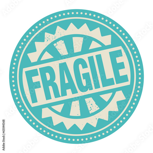 Abstract stamp or label with the text Fragile written inside
