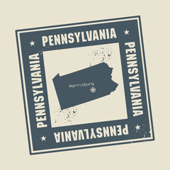 Grunge rubber stamp with name and map of Pennsylvania, USA
