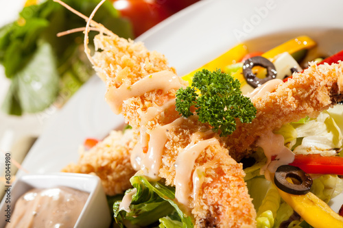 tempura salad, deep fried prawn tempura with vegetable salad