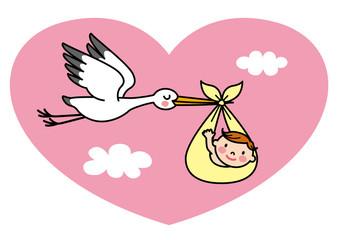 コウノトリ 赤ちゃん ハート