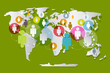 Vector People on Paper World Map - Social Media