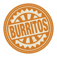 Abstract stamp or label with the text Burritos written inside